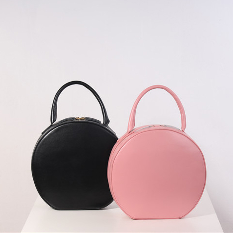 Tan Pink Genuine Leather Handbags Women Bag Designer Leather Bags Luxury  Circular Round Bag Circle Leather Tote Clutch Female