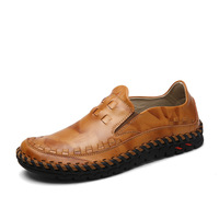 Luxury Brand Handmade Boat Shoes Men Casual Loafers Genuine Leather Flats Shoes Fashion Men Moccasin Chaussure
