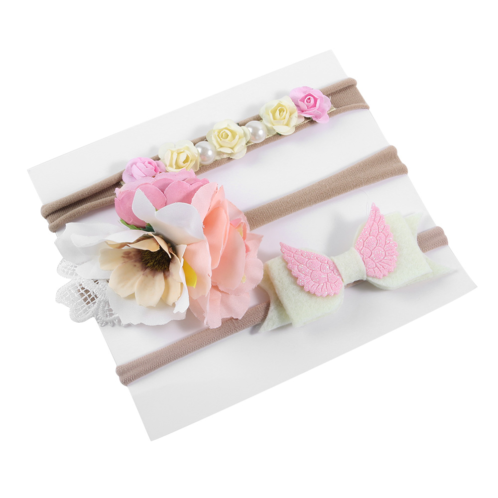 3Pcs/Set Kids Child Leaf Flower Headband Hairband Girls Bowknot Floral Elastic Rope Headwear Hair Band Accessories Xmas Gift naturalwell flower headband bandage lace hairband girls hairpiece child hair accessory baby hairband newborn shower gift hb090