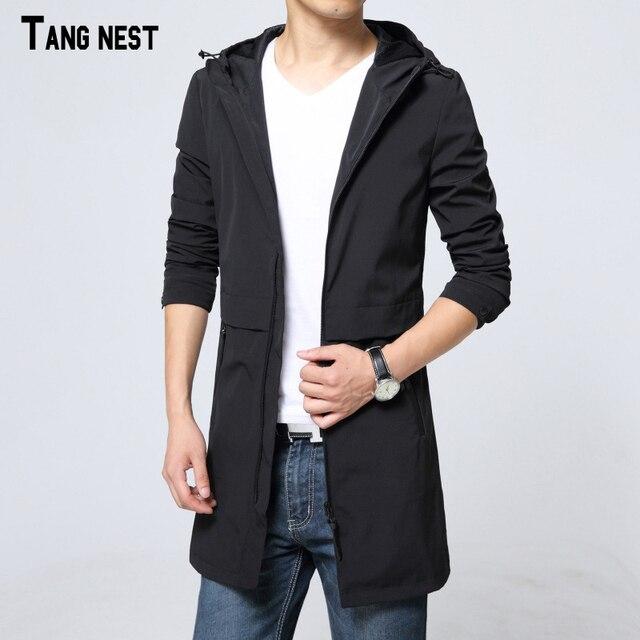 Tangnest homens trincheira ocasional 2017 novos homens da moda coreano slim fit com capuz longo trincheira masculino casaco oversize sólida mwp415