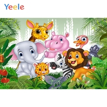 цены на Yeele Cartoon Animals Safari Zoo Forest Jungle Photography Backdrop Children Birthday Party Photographic Background Photo Studio  в интернет-магазинах