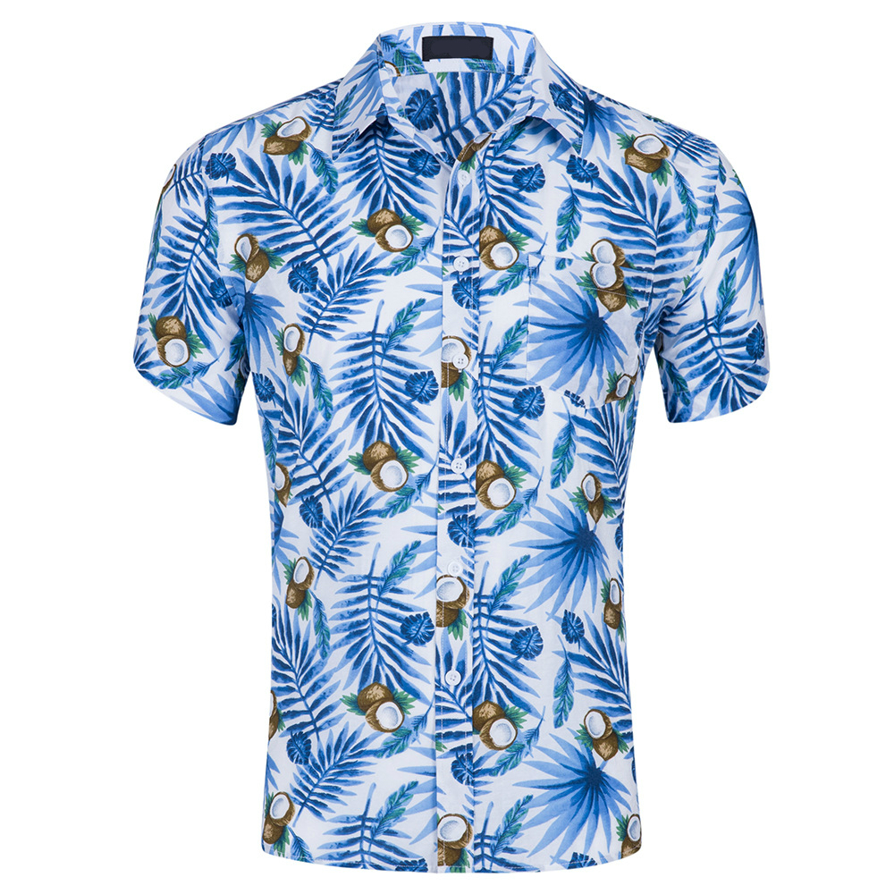 Hot summer beach short sleeve men's beauty code cotton printed Hawaiian shirt