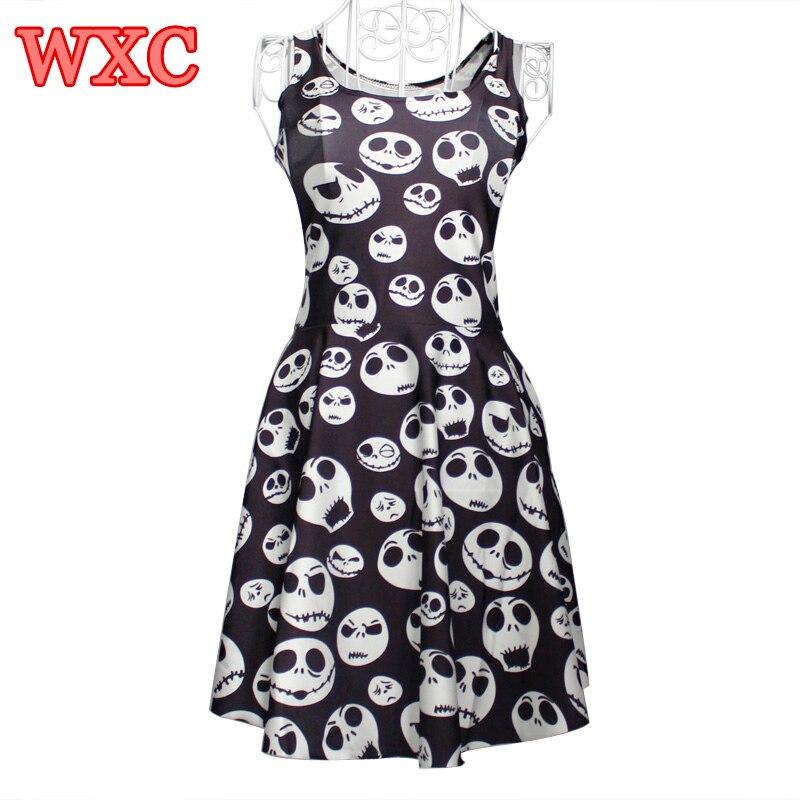 Summer Women Dress Jack Skellington Skater Dress Kawaii Sleeveless A line Tank Dresses Harajuku Sexy Party Dresses Vestidos WXC