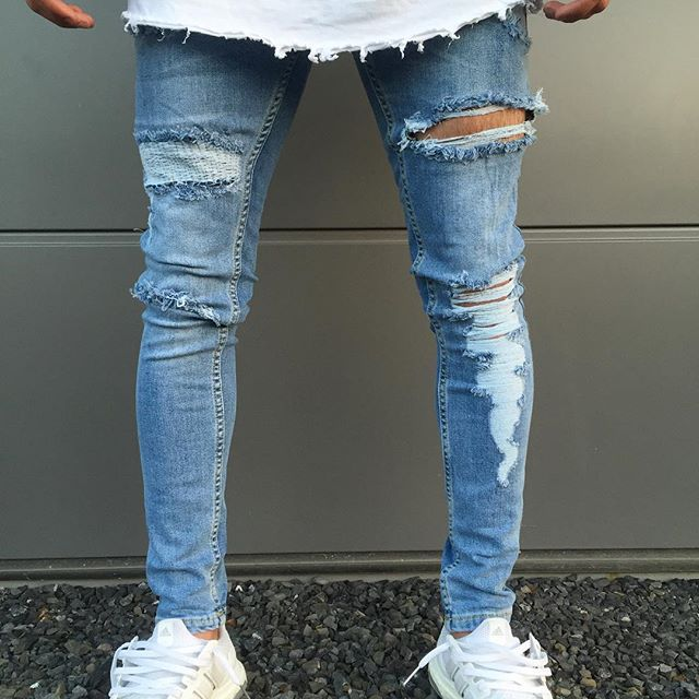 Mens blue Ripped   Jeans   Moto Slim   Jeans   Skinny For Male Fashion High Street Knee hole destroyed denim trousers