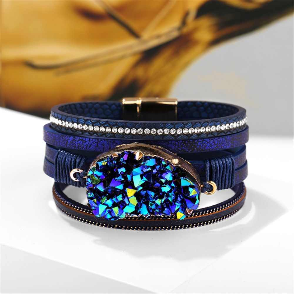 17KM Big Stone Crystal Wrap Bracelets Bangles For Women 2019 Bijoux Statement Multiple Layers Leather Bracelet Female Jewelry