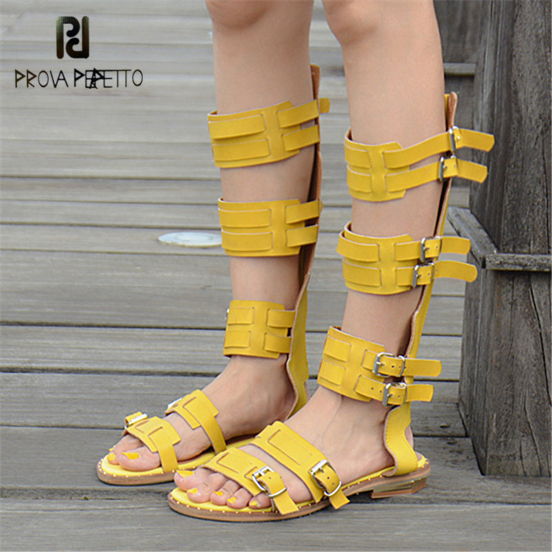 Prova Perfetto Genuine Leather Sandals Women Gladiator Summer Boots Hollow Out Retro Straps Flat Shoes Woman Valentine Shoes phyanic 2017 gladiator sandals gold silver shoes woman summer platform wedges glitters creepers casual women shoes phy3323
