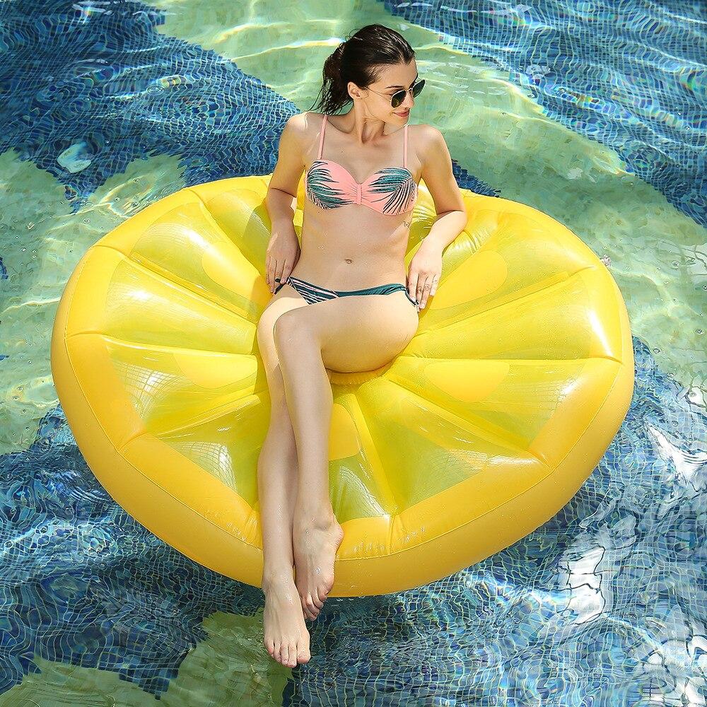 Gigante Piscina flotador inflable limón aire colchón Lounger para adultos playa de agua juguetes natación salvavidas anillo mar partido Boia Piscina