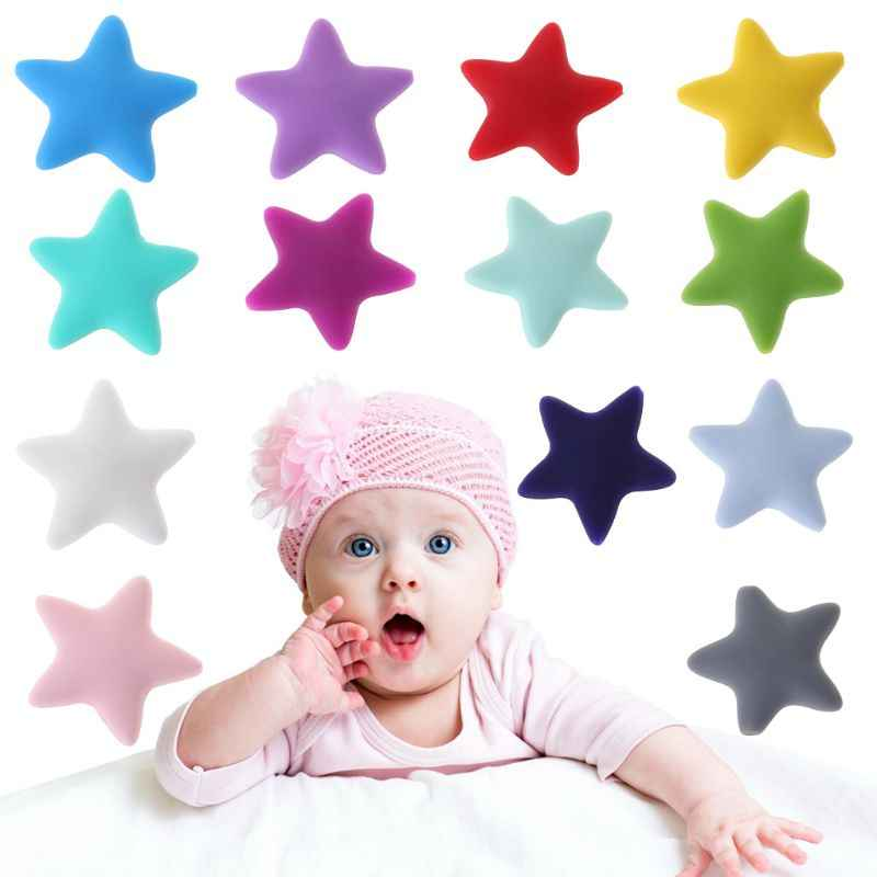 3b0cf2649605 Detail Feedback Questions about 10 Pcs Set Silicone Beads Baby Teether  Teething Grind Massage Newborn DIY Necklace Tool Toys Safe Star Shape Food  Grade Bead ...