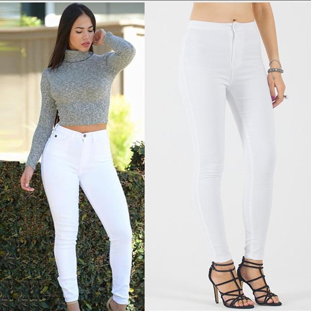 Pantalones vaqueros blanco lápiz moda Encaje las Mujer Nueva jeans para  pantalones skinny Denim mujeres los CqtvnZT bdbacf219d6e0