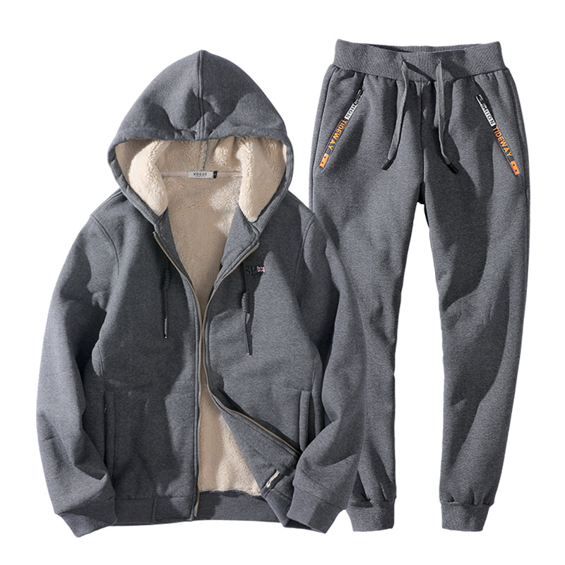 Warm Winter Men Tracksuit Hooded Jacket Pants Set Fleece Hoodie Sweatshirt Suit
