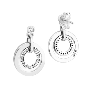 Image 2 - Circles Drop Earrings with Clear CZ Original 925 Sterling Silver Jewelry Fashion Earrings for Women DIY Charms Beads Jewelry