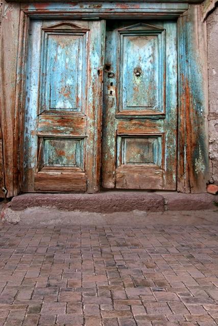 Huayi Blue Old Door Photo Background Art Fabric