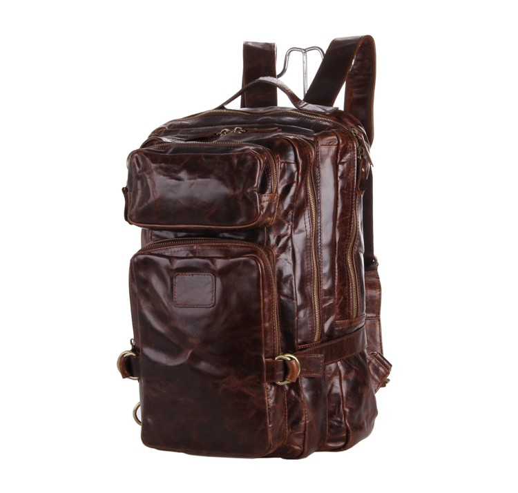 Genuine Leather Men Backpacks Casual Vintage Men Travel Bags High Quality Laptop School Backpack Rucksack Coffee Big #VP-J7048 new 2016 brand high quality leather backpack men casual laptop backpacks college style school book bags mochila rucksack 112zs