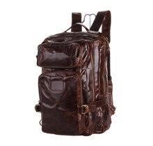 Genuine Leather Men Backpacks Casual Vintage Men Travel Bags High Quality Laptop School Backpack Rucksack Coffee Big #VP-J7048