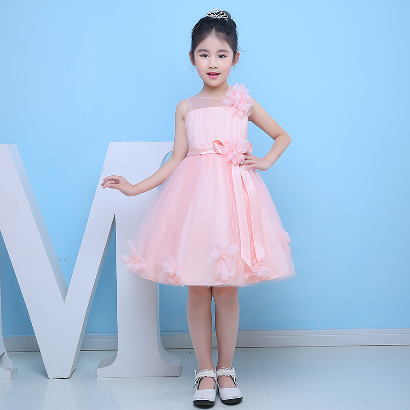 flower girls dress 2016 new kids girl dresses sleeveless knee-length ball gown girls pageant dress for birthday party costume