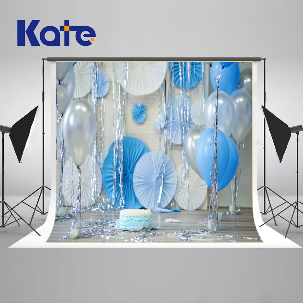 Kate Children Blue Happy Birthday Newborn Photography Props Balloons Photocall Studio Background Painting Wood Photo Background kids birthday balloons mini crown number balloons boy happy birthday candy princess balloon 40 30cm not include stander