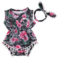 Cute Baby Girls Adorable Floral Tassel Sleeveless Romper Jumpsuit Sunsuit+Headband Outfits Clothes