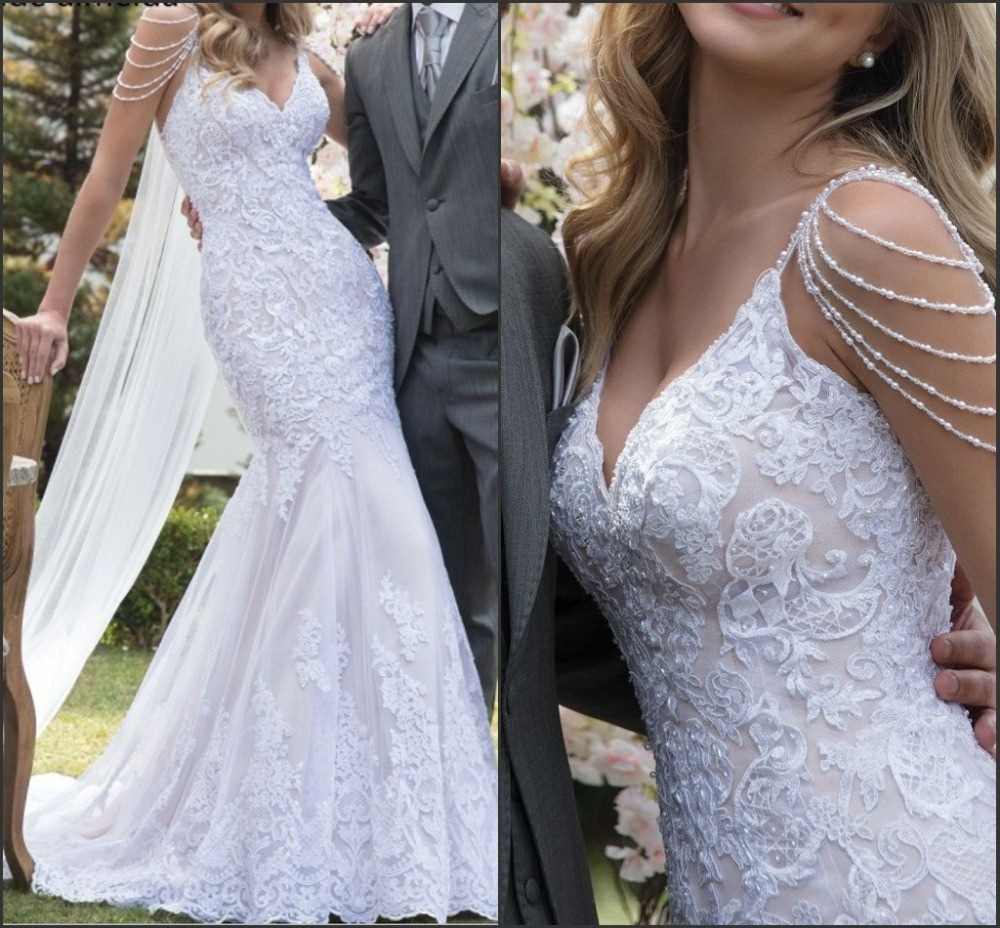 Vestido de noiva Unique Lace Mermaid Wedding Dresses Sexy V Neck Backless Pearls Spaghetti Straps Bride Dress