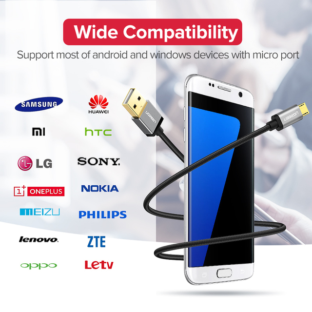 Micro USB Cable 2.4A Nylon Fast Charge USB Data Cable