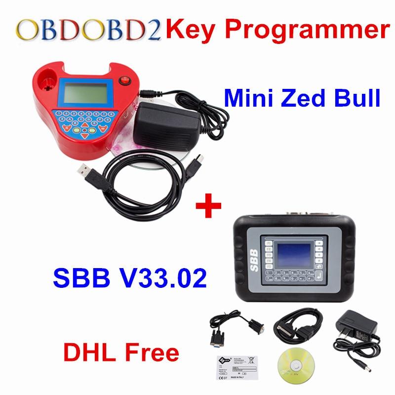 Полный набор SBB + мини Zed Bull ключевой программист V33.02 SBB V508 смарт ZedBull Auto Key Pro создатель транспондера без маркеров DHL