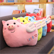 купить Cartoon Cute Winged Pig Short Plush Toys Stuffed Animal Pig Doll Toy Soft Plush Pillow Children Birthday Gifts по цене 1382.08 рублей