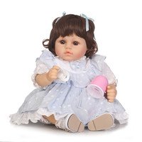 48cm Bebe Reborn Doll Soft Silicone Boy Girl Toy Reborn Baby Doll Gift for Children blue Dress Girl with magnetic pacifier NPK