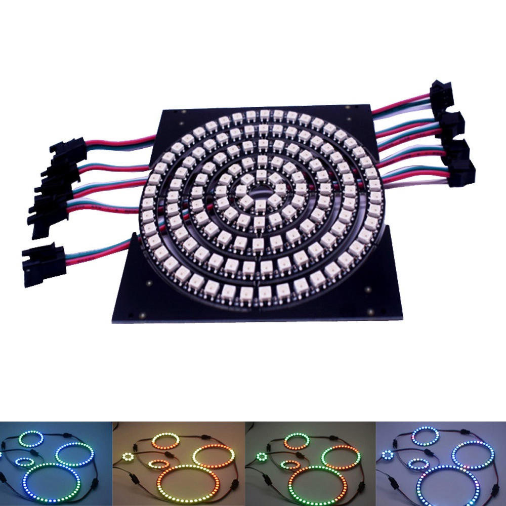 Addressable WS2812B Pixel Ring 8 16 24 35 45 LEDs WS2812 5050 RGB LED Ring WS2812 Ic Built-in RGB DC 5V Ws2812B Led Strip