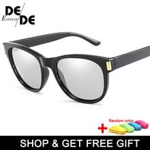HD Photochromic Polarized Sunglasses Men Women Chameleon Discoloration Sun Glasses Square Driving  with box