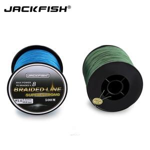 Image 5 - JACKFISH 500 متر 8 ستراند صنارة صيد بولي ايثيلين مجدول أكثر سلاسة 10 80LB متعدد خيوط خط الصيد الشبوط الصيد المياه المالحة مع هدية
