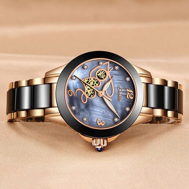 שעון נשי עם רצועה קרמיקה יוקרתי 1