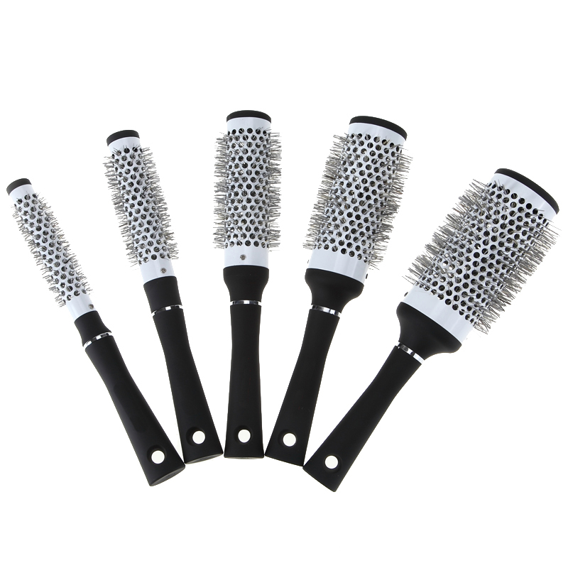 5 Sizes Black Durable Ceramic Ionic Round Comb Barber Hair