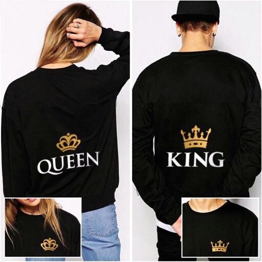 Roi et Reine de Couple Correspondant Shirts Petit Ami et Petite Amie Sweat  Shirt Hoodies Coton 2cd121cdb822