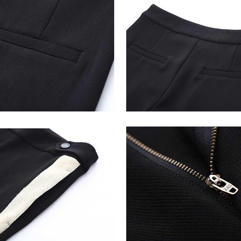 Toyouth Harem pantolon kadın 2019 rahat kontrast renk çizgili uzun pantolon orta bel siyah Pantalon Femme