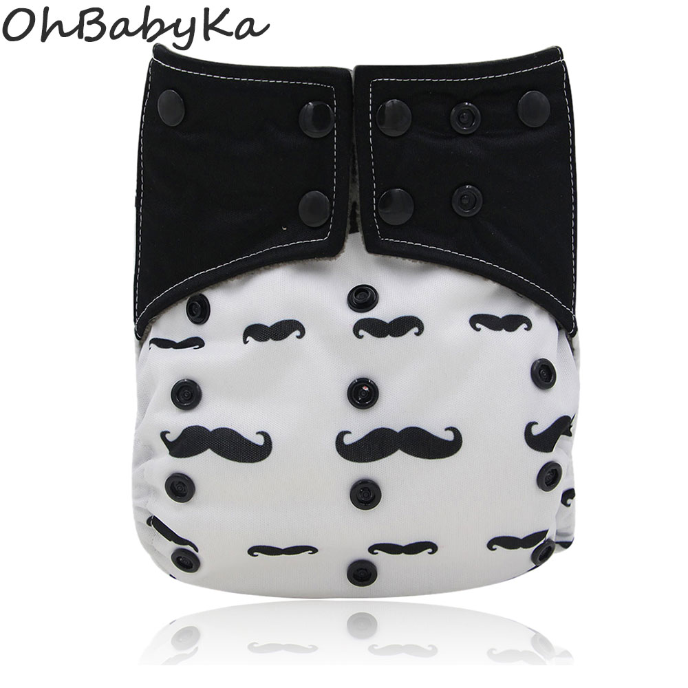 Ohbabyka Double Gussets autiņbiksītes Baby Nappies All-in-two AI2 auduma autiņbiksīšu atkārtota lietošana jaundzimušo autiņbiksītes Bambusa kokogļu kabatas autiņš