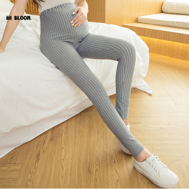 Elastic Waist Cotton Maternity Clothing High Quality Maternity Pants Overalls Pant for pregnancy Women High Waist Stripped Pant