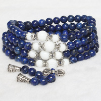 Natural Lapis Lazuli White Chalcedony Bead Round Tibetan Silver Charms Lucky Jade Healing Bracelets Chain Women