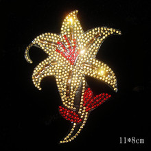 FS(2pc/lot) Golden flower pointback rhinestones motif designs iron on transfer hot fix rhinestone