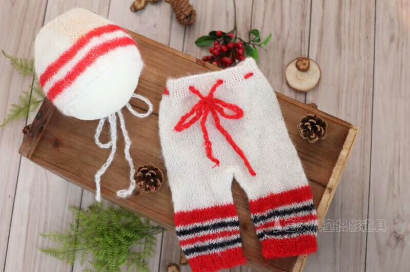 Lovely Santa Bonnet and Knitted Romper sets Newborn Hooded romper Photography Props Crochet Knitted Mohair Knit baby overall