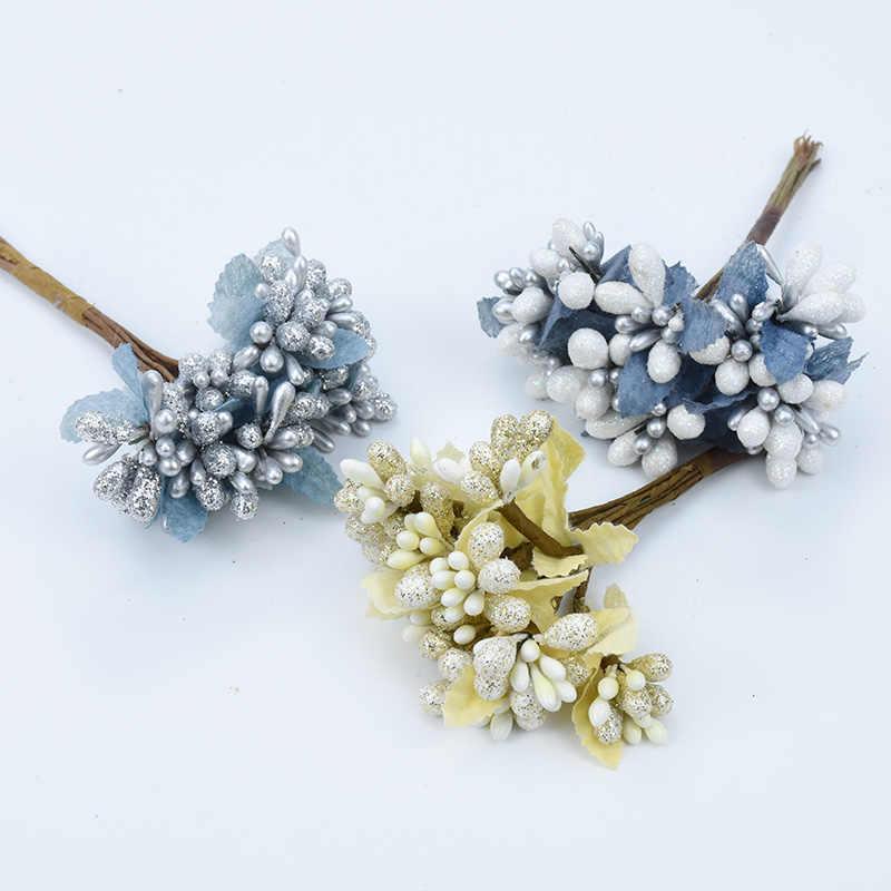 10 Uds. Flores artificiales de oro brillante scrapbooking accesorios de decoración del hogar guirnalda de Navidad estambre diy Caja de Regalos plantas falsas