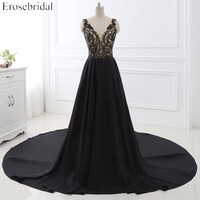 Hot Sale Sexy A Line V Neck Evening Dresses Tank Sleeveless Beaded Satin Long Evening Party