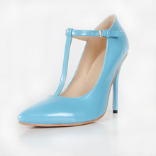 Blue Pointed Toe T-strap OL Shoes Buckle Stilettos Pump Escarpins Femmes Plus Size Cheap High Heel Pumps Made-to-order