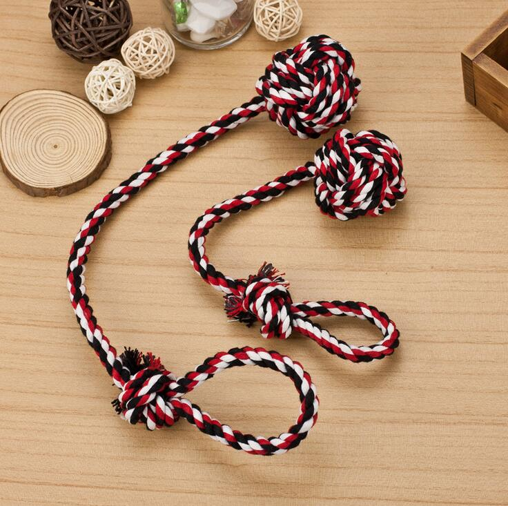 Strong braided dog cat puppy rope toys 30cm 40cm chew toys for pets two rope braided with a ball rope dog toys dog play toys