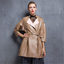 European winter long girls temperament LEATHER PLEATED SKIRT pleated leather jacket beige leather female temperament