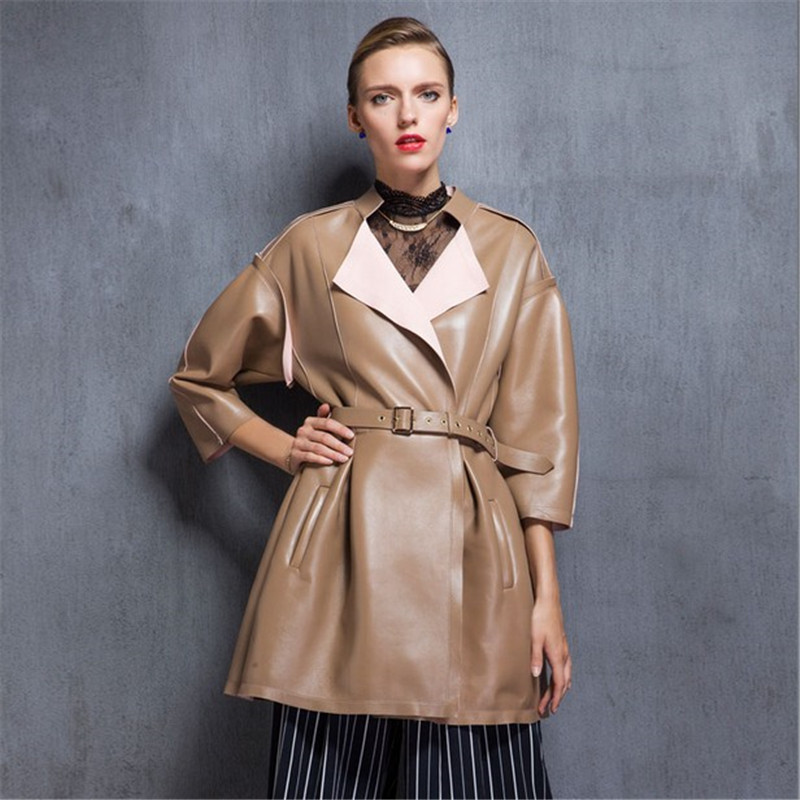 ФОТО European winter long girls temperament LEATHER PLEATED SKIRT pleated leather jacket beige leather female temperament