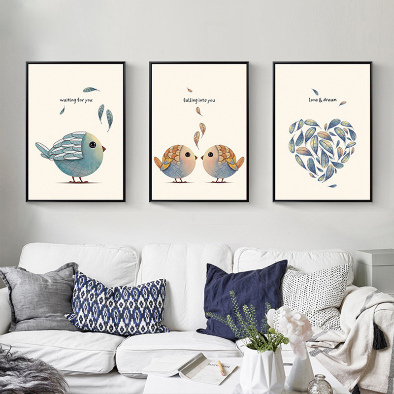 Love Shaped Leaves Loving Couple Birds Nordic Mural Decoration No Frame Canvas Wall Art Drawing For Children Room Bedroom Office Leaf Wall Art Couples Artbird Art Aliexpress