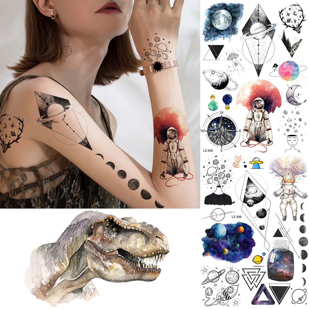 Watercolor Cosmonaut Fake Tattoo Women Arm Universe Temporary Tattoo Men Body Neck Moon Geometric Waterproof Tatoos Triangle Art
