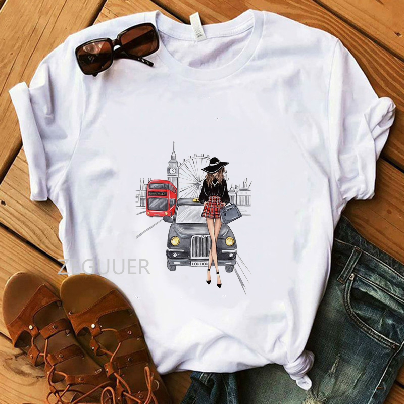 London Girl Lovely T-shirt Vogue White Tees 100% Cotton Soft O-Neck Women T-Shirt Coffee Lady And Car Illustration Summer Tops