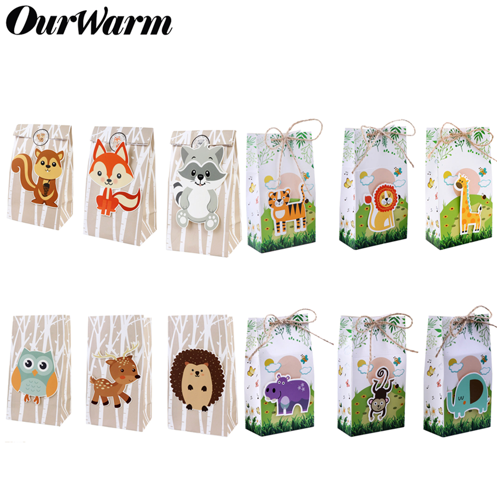 OurWarm 12Pcs Jungle Party Paper Gifts Box Candy Sweet Bags Kids Baby Animal Birthday Safari Party Favors Supplies Decoration