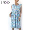BFDADI Plus Size Camisolas Para As Mulheres Longas Estampas Florais Meninas de Noite Robes Nightdress 3 Cores Sleepshirt Verão