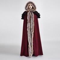 Панк готический осень зима Длинные шерстяной воротник плащ пальто Для женщин Винтаж Длинный плащ Накидки теплые пальто с капюшоном